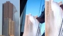 Ο ισχυρός σεισμός κούνησε έναν από τους ουρανοξύστες της πόλης τόσο έντονα που το νερό της πισίνας άρχισε να χύνεται