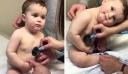 Μπέμπης γέρνει γλυκά το κεφάλι του στο χέρι της νοσοκόμας και ετοιμαστείτε για το πιο χαριτωμένο βίντεο της ημέρας
