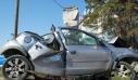 Διαλυμένο το αυτοκίνητο από το δυστύχημα με τους δύο νεκρούς στη Λάρισα
