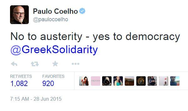 «Όχι στη λιτότητα, ναι στη Δημοκρατία» – O Paulo Coelho υπέρ των Ελλήνων