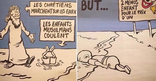 Οργή για τα νέα σκίτσα του Charlie Hebdo για τους μετανάστες (Pics)