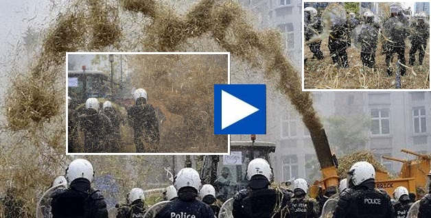 Οι αγρότες στις Βρυξέλλες έριχναν άχυρα στους αστυνομικούς!! (βίντεο)