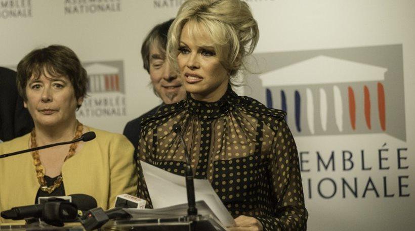 Με διάφανη μπλούζα η Πάμελα Άντερσον στη Γαλλική Εθνοσυνέλευση (ΦΩΤΟ)