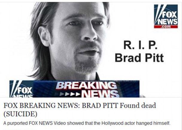 Απάτη με τον θάνατο του Μπραντ Πιτ κάνει τον γύρο του κόσμου