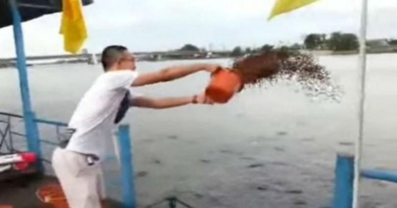 Πήρε 23 κουβάδες με ψαροτροφή και τους πέταξε στη θάλασσα – Δεν έχετε δει ποτέ αυτό που έγινε