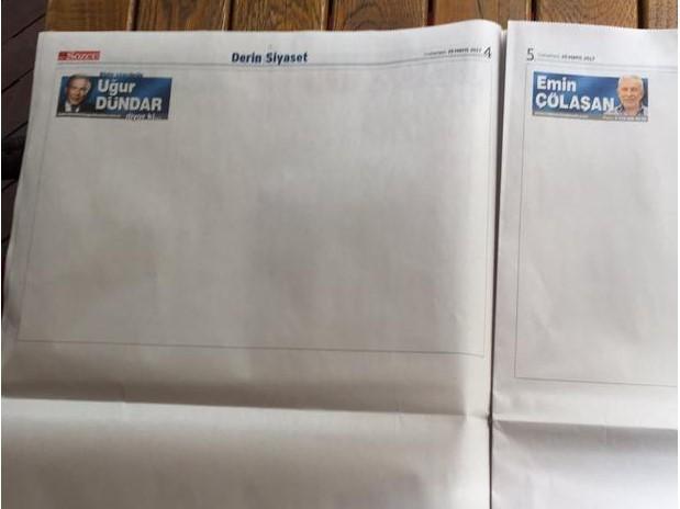 Εφημερίδα στην Τουρκία κυκλοφόρησε χωρίς κανένα θέμα και…ξεπούλησε (ΦΩΤΟ)