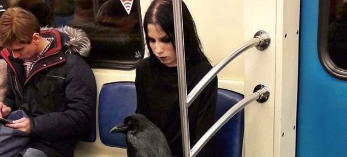 Viral: Γυναίκα μπήκε στο μετρό με το κοράκι της [εικόνες]