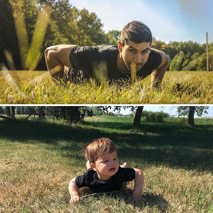 18 μηνών μπόμπιρας μιμείται τις πόζες του μοντέλου θείου του που είναι Έλληνας