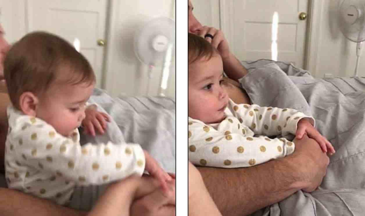 Μωράκι αρνείται να μοιραστεί το χέρι του μπαμπά του με την μαμά του