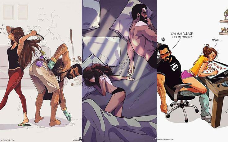 Καλλιτέχνης σκιτσογραφεί τη ζωή με τη γυναίκα του σε 18 νέα χιουμοριστικά σκίτσα