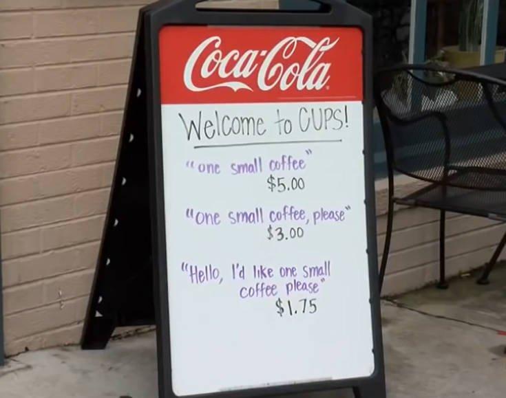 Ιδιοκτήτης καφέ χρεώνει περισσότερα στους απότομους πελάτες (ΦΩΤΟ)