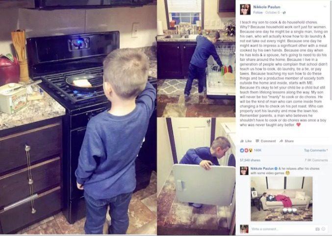 Έχει Διχάσει το διαδίκτυο: Μαμά βάζει τον 6χρονο Γιο της να Κάνει δουλειές στο Σπίτι τα σχόλια παίρνουν Φωτιά! Ποια η Γνώμη σας;