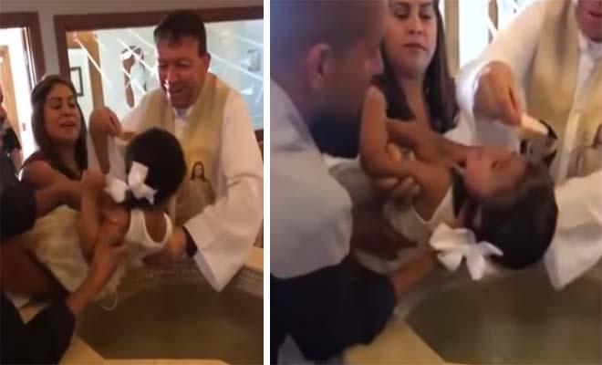 3χρονη πιτσιρίκα βρίζει ασταμάτητα τον παπά την ώρα που την βαφτίζει