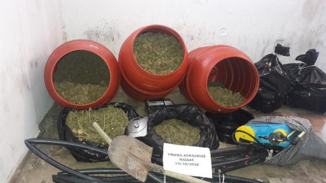 Ηλεία: Είχαν κρύψει πάνω από 34 κιλά κάνναβης μέσα σε βαρέλια