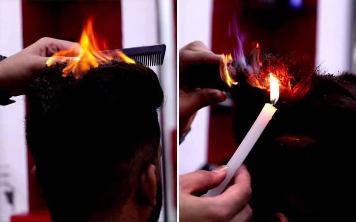Ο μπαρμπέρης που κουρεύει με… φωτιά στα μαλλιά