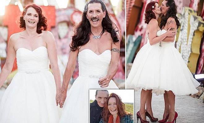 Άντρας μουστακαλής έβαλε νυφικό και παντρεύτηκε την αγαπημένη του γιατί ήθελε λέει να είναι ο εαυτός του