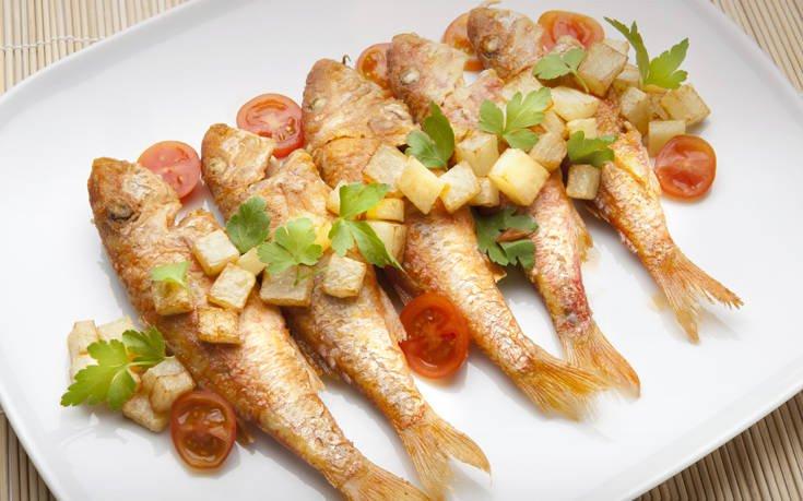 Μπαρμπούνια τηγανητά με ούζο