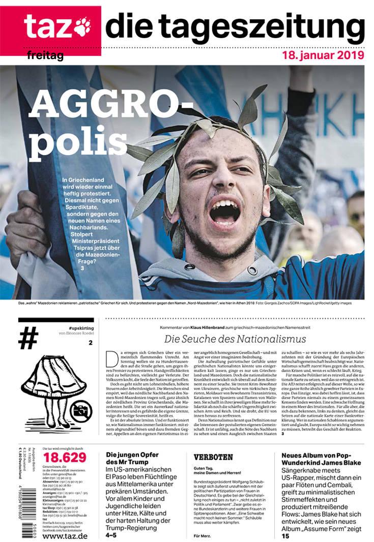 Ο Έλληνας διαδηλωτής με στεφάνι δάφνης στο πρωτοσέλιδο της Tageszeitung