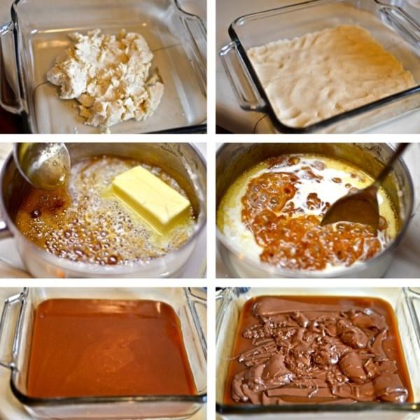 Μπάρες μπισκότου με καραμέλα και σοκολάτα