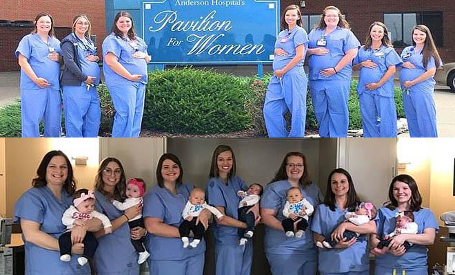 7 νοσοκόμες που δουλεύουν στην ίδια κλινική έμειναν ταυτόχρονα έγκυες και πόζαραν χαρούμενες με τα νεογέννητα μωρά τους