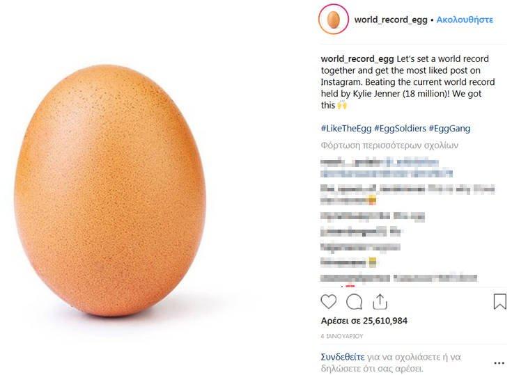 Ένα αυγό «εκθρόνισε» την κόρη της Κάιλι Τζένερ στο Instagram