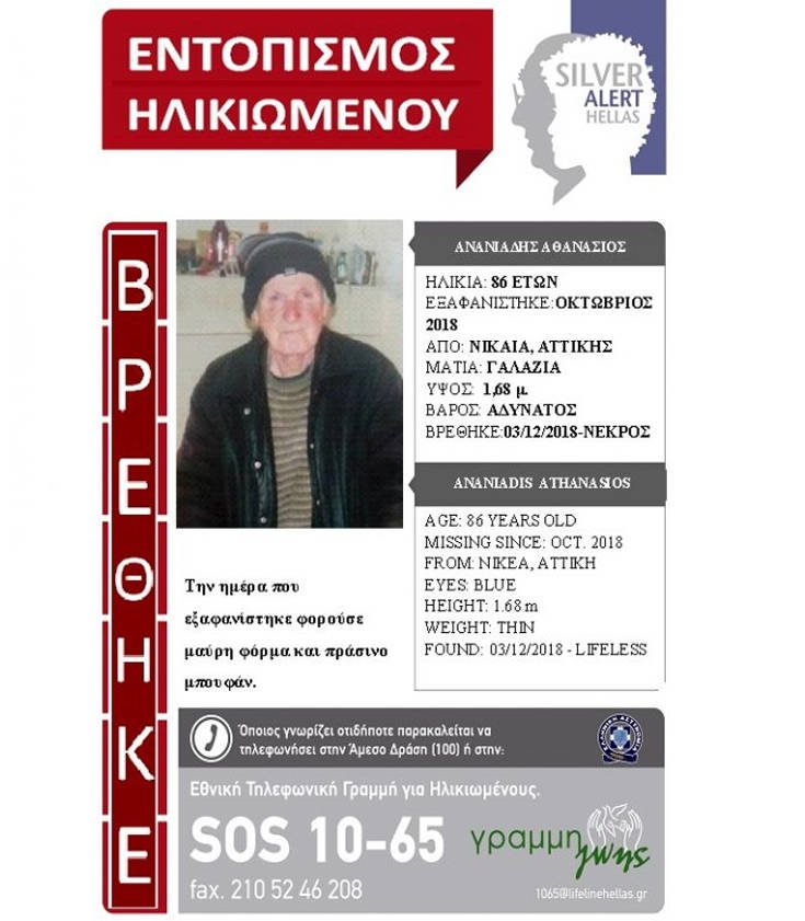 Τραγικό τέλος για τον 86χρονο που αγνοούνταν στη Νίκαια