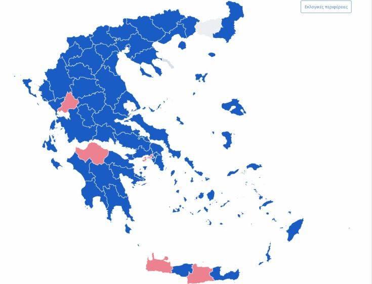 Ευρωεκλογές 2019: Ο χάρτης της Ελλάδας στο 66,2% της ενσωμάτωσης