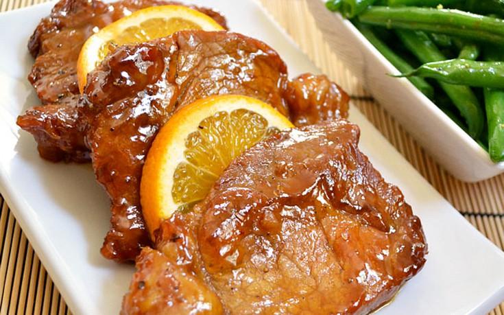 Χοιρινό μπούτι με πορτοκάλι και μουστάρδα