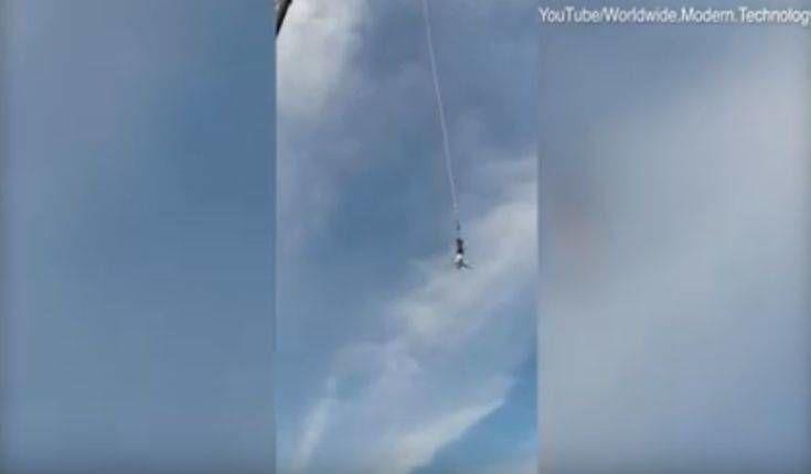 Άνδρας κάνει bungee jumping και σπάει το σκοινί