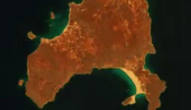 Φωτιά στην Ελαφόνησο: Δορυφορικές εικόνες δείχνουν το μέγεθος της καταστροφής