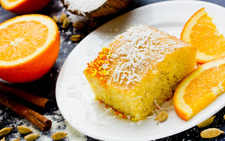Κέικ πορτοκάλι με καρύδα