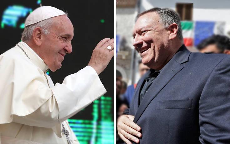 Πομπέο και Πάπας Φραγκίσκος θέλουν να προωθήσουν τη θρησκευτική ελευθερία