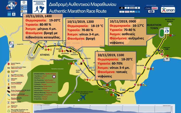 Με νεφώσεις και βροχές από το μεσημέρι η διεξαγωγή του Μαραθωνίου