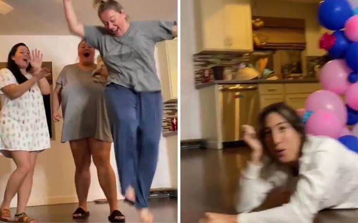 Αποκάλυψε το φύλο του μωρού της βγάζοντας μπλε σκόνη από τα… οπίσθια