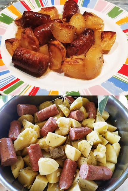Λουκάνικα με πατάτες στον φούρνο !!!