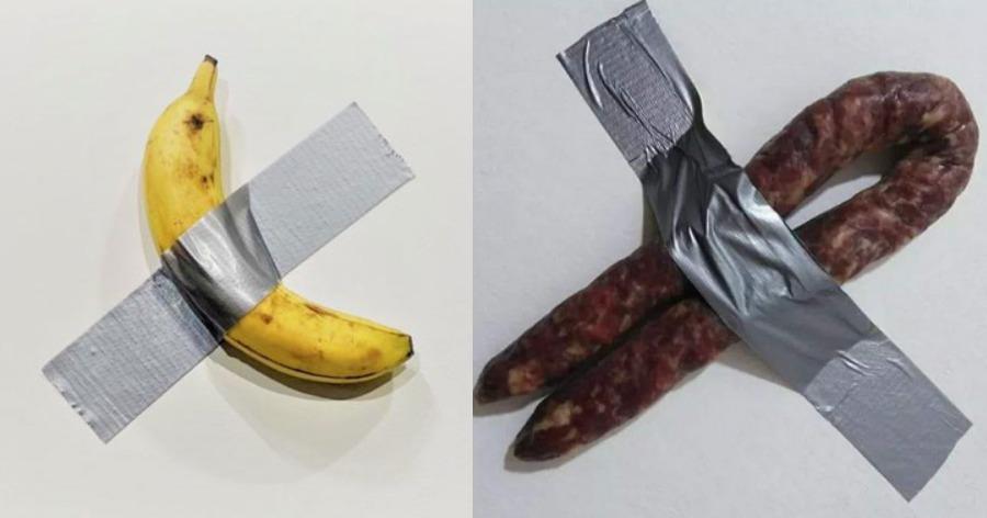 Η ελληνική απάντηση στο έργο τέχνης με την μπανάνα που ήταν κολλημένη στον τοίχο