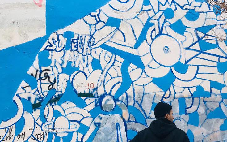 Μια τοιχογραφία από πρόσφυγες στο Θεαγένειο Αντικαρκινικό Νοσοκομείο