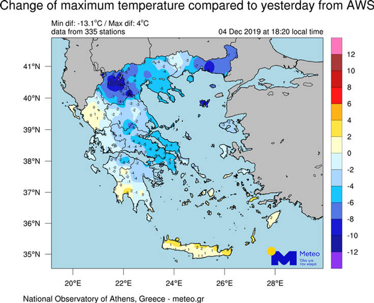 Καιρός: Χιόνια στη Βόρεια Ελλάδα, άνοδος θερμοκρασίας σε Κρήτη και Αιγαίο