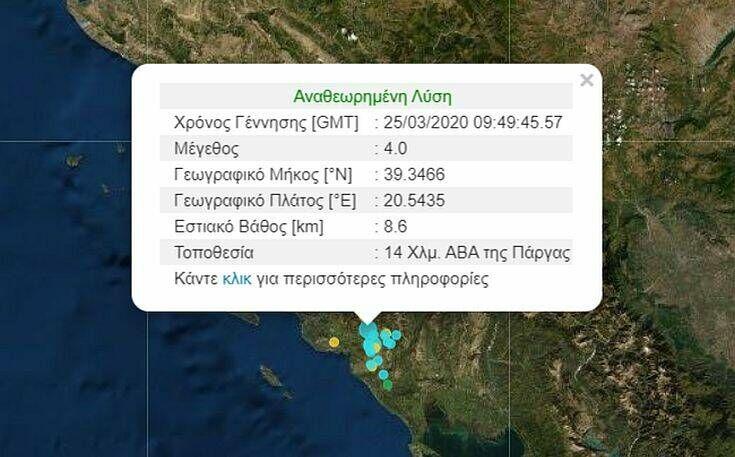 Σεισμός τώρα στην Πάργα
