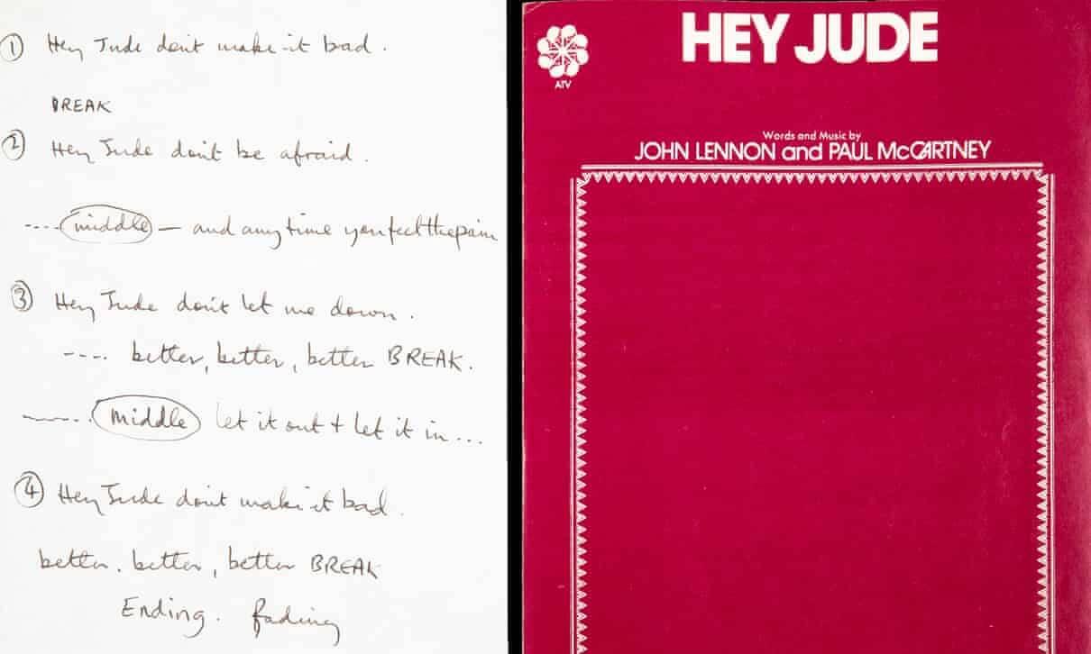 Οι χειρόγραφοι στίχοι του «Hey Jude» των Beatles πουλήθηκαν έναντι 910.000 δολαρίων