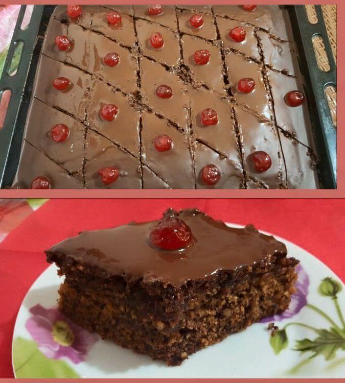 Νηστίσιμη Καρυδόπιτα με γλάσσο σοκολάτας