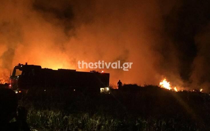 «Μάχη» με τις φλόγες δίνουν οι Πυροσβέστες στον Εύοσμο