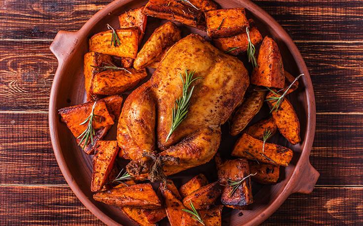 Κοτόπουλο στο φούρνο με γλυκοπατάτες