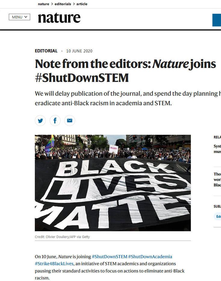 Διαμαρτυρία του εμβληματικού Nature κατά του ρατσισμού: Αναστέλλει για μία ημέρα τις δημοσιεύσεις του