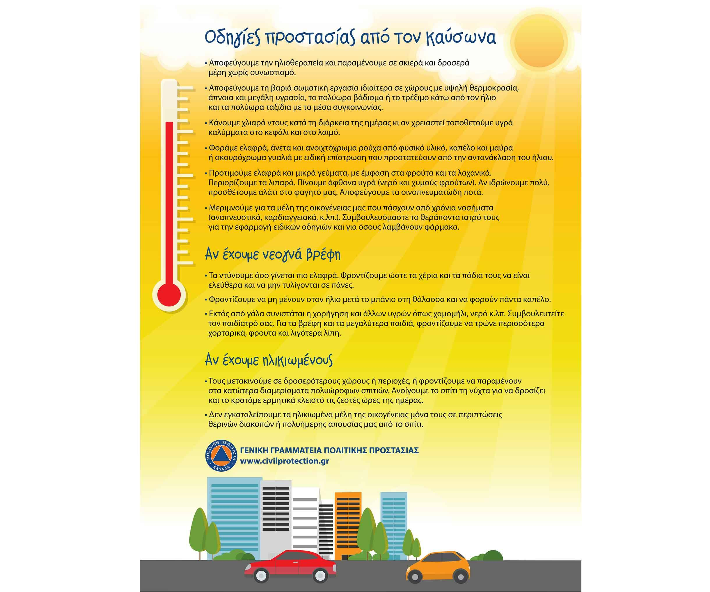 Καιρός: Τριήμερος καύσωνας με υψηλές θερμοκρασίες – Οδηγίες προστασίας στους πολίτες