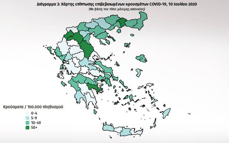 Σε ποιες περιοχές στην Ελλάδα εντοπίστηκαν τα σημερινά κρούσματα – Πόσα είναι τα εισαγόμενα