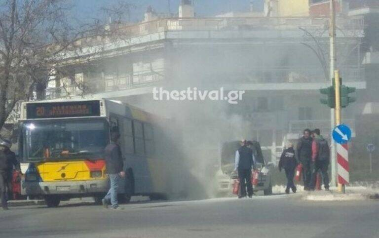 Θεσσαλονίκη: Λεωφορείο του ΟΑΣΘ πήρε φωτιά στην Πυλαία