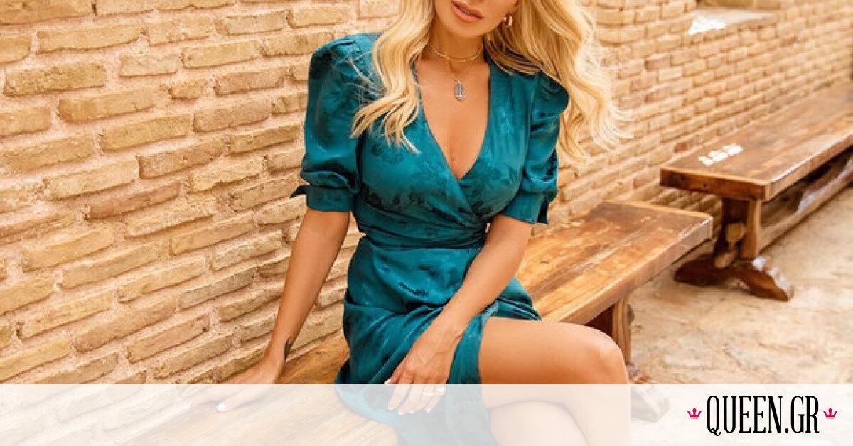 Δεν υπάρχει περίπτωση να μην σου αρέσει αυτό το πετρόλ φόρεμα της Κατερίνας Καινούργιου