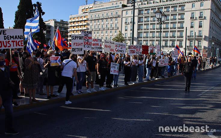 Συγκέντρωση Αρμενίων στο Σύνταγμα για το Ναγκόρνο Καραμπάχ