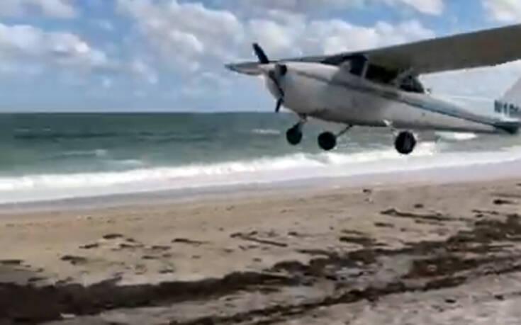 Αναγκαστική προσγείωση αεροσκάφους σε παραλία on camera